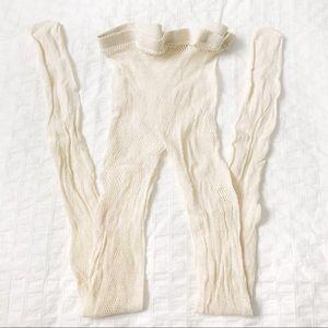 Cream/beige fishnet tights